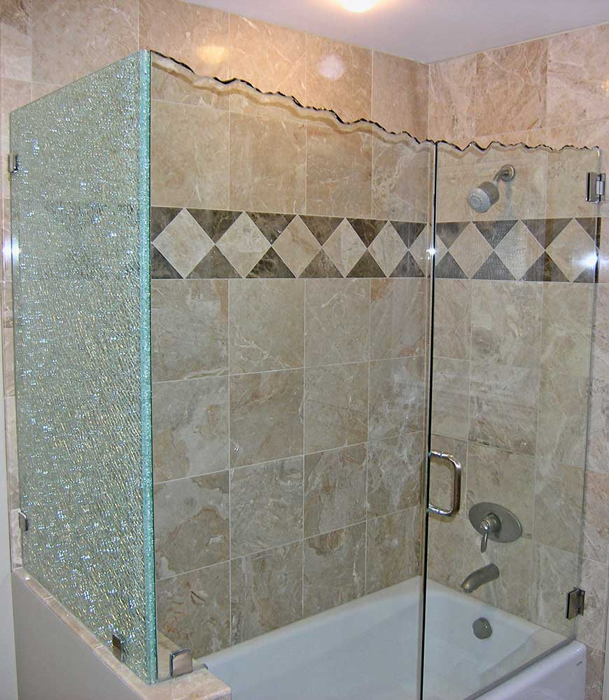 Custom Chipped Glass Shower